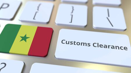 CUSTOMS CLEARANCE text and flag of Senegal on the computer keyboard. Import or export related conceptual 3D rendering