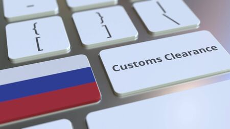 CUSTOMS CLEARANCE text and flag of Russia on the computer keyboard. Import or export related conceptual 3D rendering