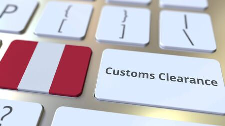 CUSTOMS CLEARANCE text and flag of Peru on the computer keyboard. Import or export related conceptual 3D rendering Фото со стока