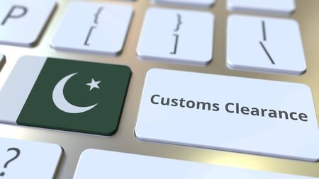 CUSTOMS CLEARANCE text and flag of Pakistan on the computer keyboard. Import or export related conceptual 3D rendering Stock Photo