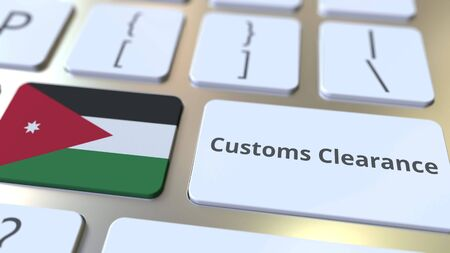CUSTOMS CLEARANCE text and flag of Jordan on the buttons on the computer keyboard. Import or export related conceptual 3D rendering