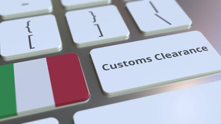CUSTOMS CLEARANCE text and flag of Italy on the buttons on the computer keyboard. Import or export related conceptual 3D rendering Stock Photo