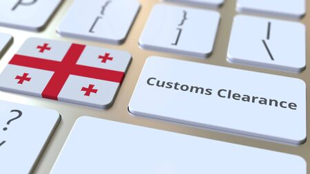 CUSTOMS CLEARANCE text and flag of Georgia on the buttons on the computer keyboard. Import or export related conceptual 3D rendering