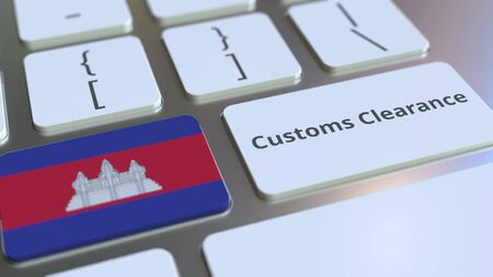 CUSTOMS CLEARANCE text and flag of Cambodia on the buttons on the computer keyboard. Import or export related conceptual 3D rendering