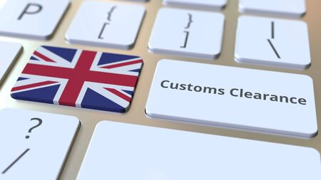 CUSTOMS CLEARANCE text and flag of Great Britain on the buttons on the computer keyboard. Import or export related conceptual 3D rendering