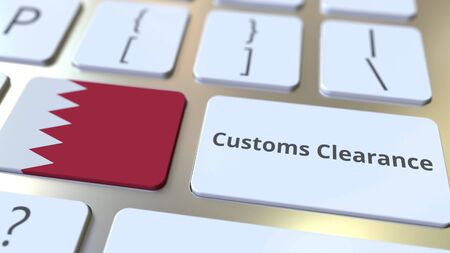 CUSTOMS CLEARANCE text and flag of Bahrain on the buttons on the computer keyboard. Import or export related conceptual 3D rendering