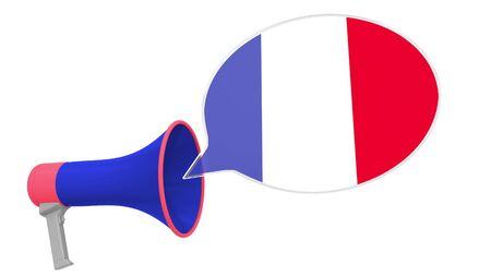Altoparlante e bandiera della Francia sul fumetto. Rendering 3D concettuale relativo alla lingua o alla dichiarazione nazionale Archivio Fotografico