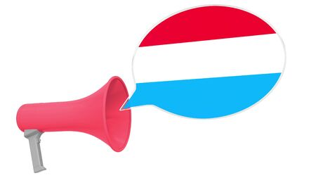 Megaphone and flag on the speech bubble. Language or national statement related conceptual 3D Stok Fotoğraf - 132508724