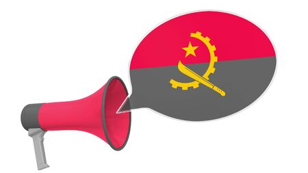 Megaphone and flag on the speech bubble. Language or national statement related conceptual 3D Stok Fotoğraf - 132510866