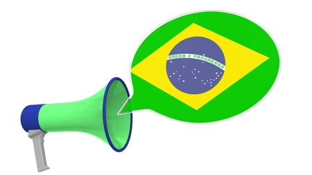 Megaphone and flag of Brazil on the speech bubble. Language or national statement related conceptual 3D rendering