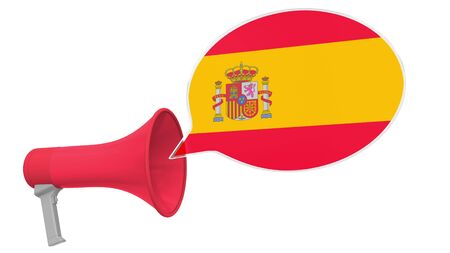 Megaphone and flag on the speech bubble. Language or national statement related conceptual 3D