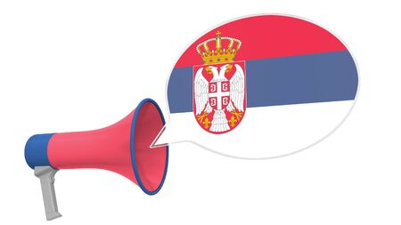 Loudspeaker and flag of Serbia on the speech bubble. Language or national statement related conceptual 3D rendering