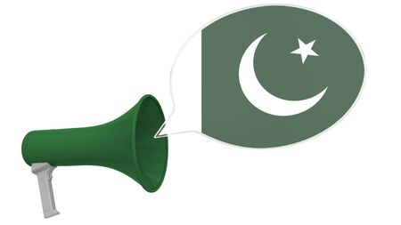 Megaphone and flag on the speech bubble. Language or national statement related conceptual 3D Stok Fotoğraf - 132509511