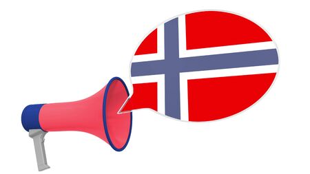 Megaphone and flag on the speech bubble. Language or national statement related conceptual 3D Stok Fotoğraf - 132509476