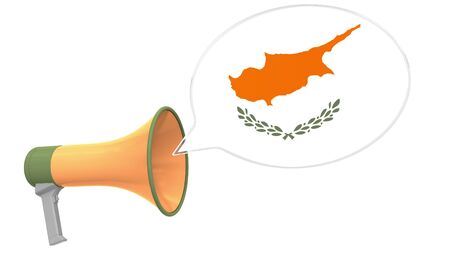 Megaphone and flag on the speech bubble. Language or national statement related conceptual 3D Stok Fotoğraf - 132510712