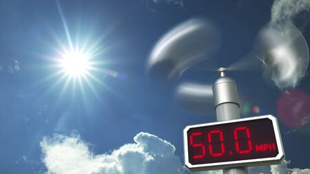 Wind speed measuring anemometer shows 50 mph. Weather forecast related 3D rendering Stock Photo