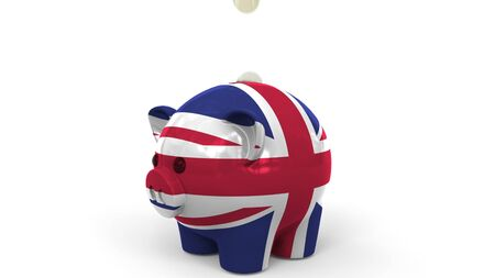Coins fall into piggy bank painted with flag of Great Britain. National banking system or savings related conceptual 3D rendering