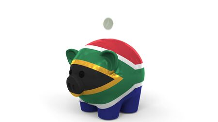 Coins fall into piggy bank painted with flag of South Africa. National banking system or savings related conceptual 3D rendering