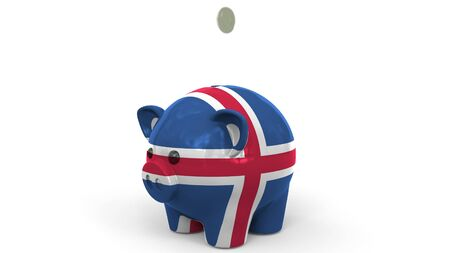 Coins fall into piggy bank painted with flag of Iceland. National banking system or savings related conceptual 3D rendering