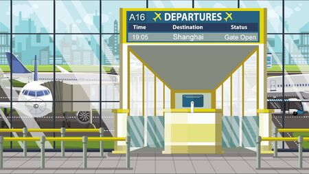 Departure board in the airport terminal with Shanghai caption. Travel to China cartoon illustration