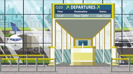 Airport departure board with New Delhi caption. Travel to India related cartoon illustration
