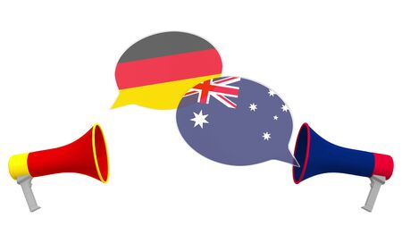Flags of Australia and Germany on speech balloons from megaphones. Intercultural dialogue or international talks related 3D rendering