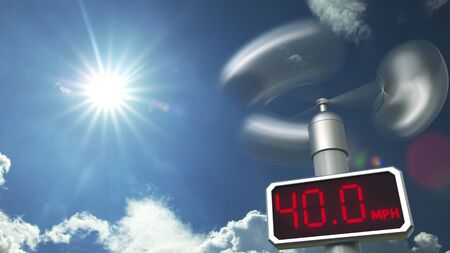 Wind speed measuring anemometer shows 40 mph. Weather forecast related 3D rendering