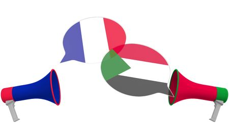 Speech bubbles with flags of Sudan and France and loudspeakers. Intercultural dialogue or international talks related 3D rendering