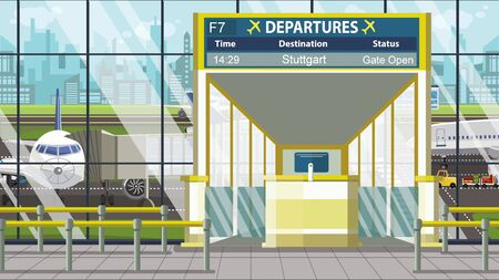 Departure board in the airport terminal with Stuttgart caption. Travel to Germany cartoon illustration 版權商用圖片