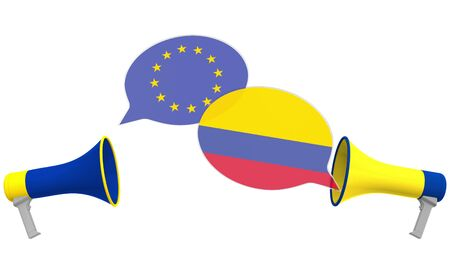 Flags of Colombia and the European Union on speech bubbles with loudspeakers. Intercultural dialogue or international talks related 3D rendering