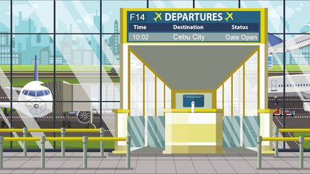 Airport terminal. Departure board above the gate with Cebu city text. Travel to Philippines cartoon illustration