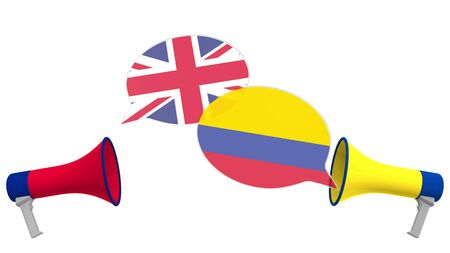 Flags of Colombia and the United Kingdom on speech bubbles with loudspeakers. Intercultural dialogue or international talks related 3D rendering 写真素材