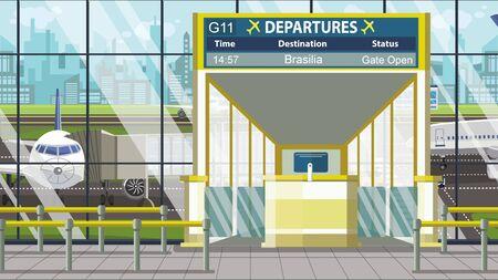 Flight to Brasilia on airport departure board. Trip to Brazil cartoon illustration