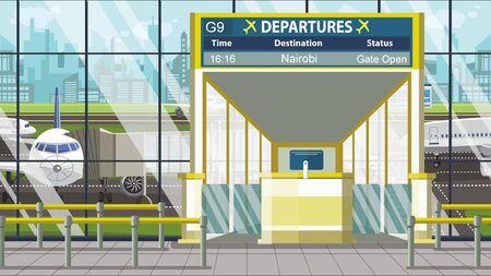 Flight to Nairobi on airport departure board. Trip to Kenya cartoon illustration