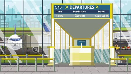 Airport terminal. Departure board above the gate with Durban text. Travel to South africa cartoon illustration