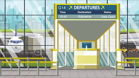 Flight to Katowice on airport departure board. Trip to Poland cartoon illustration Zdjęcie Seryjne