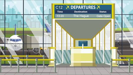 Flight to The Hague on airport departure board. Trip to Netherlands cartoon illustration 版權商用圖片