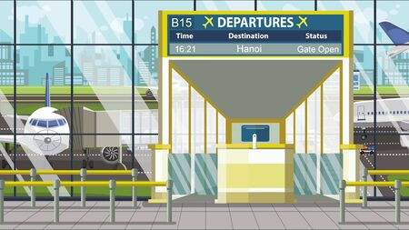 Airport terminal. Departure board above the gate with Hanoi text. Travel to Vietnam cartoon illustration