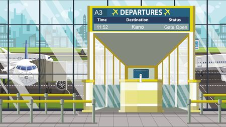Airport terminal. Departure board above the gate with Kano text. Travel to Nigeria cartoon illustration 版權商用圖片