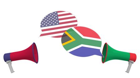 Speech bubbles with flags of South Africa and the USA. Intercultural dialogue or international talks related 3D rendering