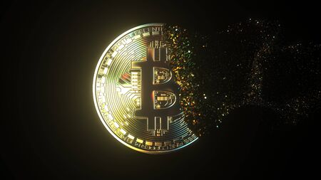 Disintegration of a BTC bitcoin token. Cryptocurrency collapse related conceptual 3D rendering Stock Photo - 133226725
