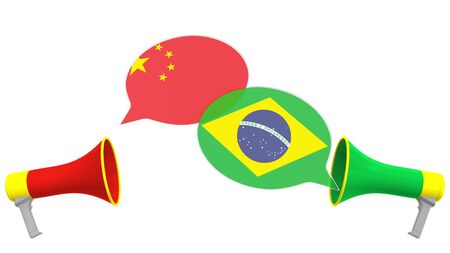 Speech bubbles with flags of Brazil and China and loudspeakers. Intercultural dialogue or international talks related 3D rendering
