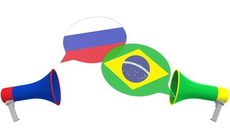 Speech bubbles with flags of Brazil and Russia and loudspeakers. Intercultural dialogue or international talks related 3D rendering
