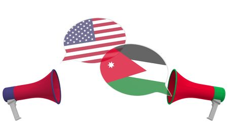 Speech bubbles with flags of Jordan and the USA and loudspeakers. Intercultural dialogue or international talks related 3D rendering