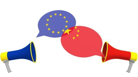 Flags of China and the European Union on speech balloons from megaphones. Intercultural dialogue or international talks related 3D rendering