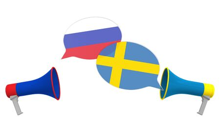 Speech bubbles with flags of Sweden and Russia. Intercultural dialogue or international talks related 3D rendering Stock Photo