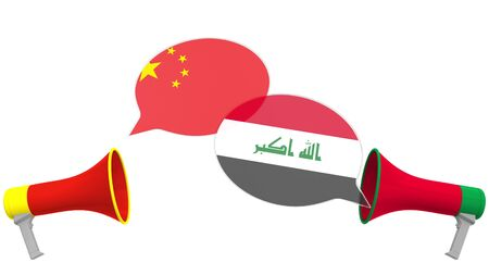 Flags of Iraq and China on speech balloons from megaphones. Intercultural dialogue or international talks related 3D rendering Stock Photo