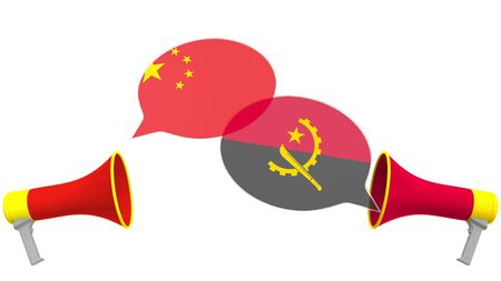 Speech bubbles with flags of Angola and China. Intercultural dialogue or international talks related 3D rendering 版權商用圖片