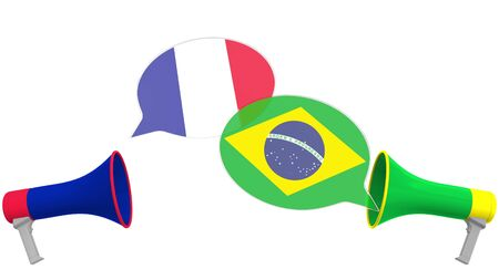 Speech bubbles with flags of Brazil and France and loudspeakers. Intercultural dialogue or international talks related 3D rendering