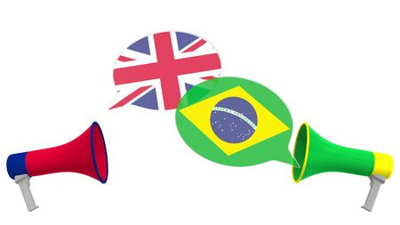 Speech bubbles with flags of Brazil and the United Kingdom and loudspeakers. Intercultural dialogue or international talks related 3D rendering Imagens